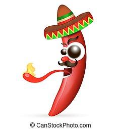 pfeffer, mexikanisch, heiß chili, rotes