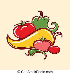 pfeffer, und, tomaten