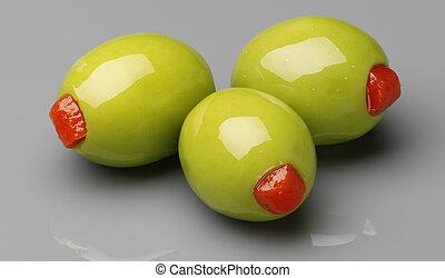 pfeffer, vollgestopft, oliven