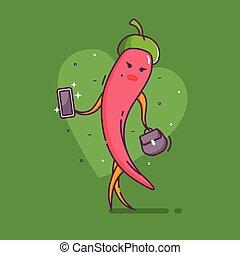 pfeffer, zeichen, heiß, gemüse, m�dchen, chili, rotes