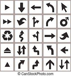 pfeil abbild, set., universal, vektor, ikone, set.