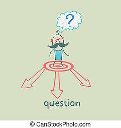 pfeile, frage, wahlmöglichkeit, gesichter, markierung, mann