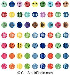 pfeile, in, runder , differnt, farbe