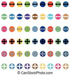 pfeile, in, runder , verschieden, farbe