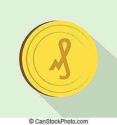 Pfennig icon, flat style