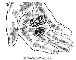 pfennige, hand, wenige, version, schwarz, nichts, weißes, als, mehr