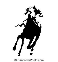 pferd, abbildung, abstrakt, rennpferd, vektor, reiten,...