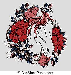pferd, blumen, kopf