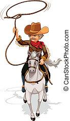pferd, cowboy, seil, während, besitz, reiten