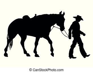 pferd, cowboy, seine