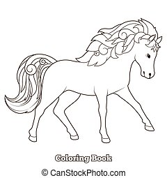 pferd, färbung, erzieherisch, spiel, vektor, wild, buch