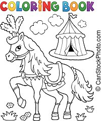 pferd, färbung, zirkus, thema, 2, buch
