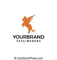 pferd, fliegendes, vektor, design, schablone, pegasus, logo