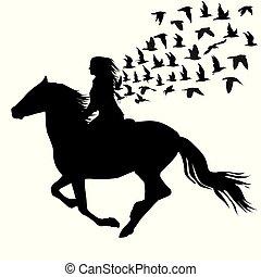 pferd, frau, abstrakt, abbildung, silhouetten, reiten, vögel