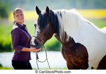 pferd, frau, field.