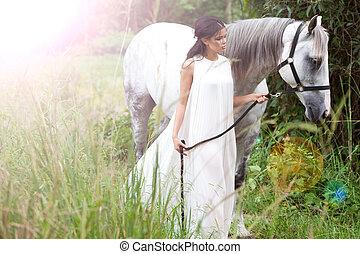 pferd, frau, weißes, junger