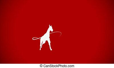 pferd galopp, animation, mit, kopieren platz, whiteboard,...