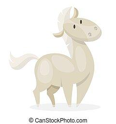 pferd, inländisch, animal., wild, säugetier, weißes, oder