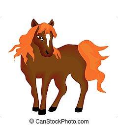 pferd, isoliert, nett