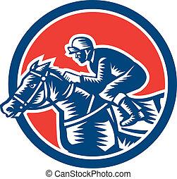 pferd, jockey, holzschnitt, retro, kreis, rennsport