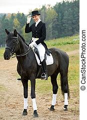pferd, jockey, horsewoman, uniform