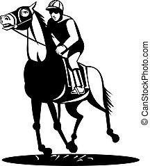 pferd, jockey, niedrig