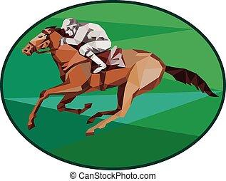 pferd, jockey, polygon, niedrig, oval, rennsport