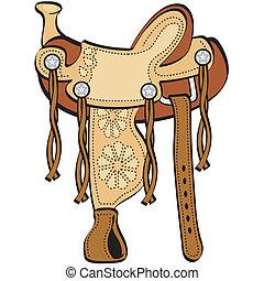 pferd, kunst, westlich, klammer, pferdesattel