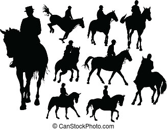 pferd mitfahrer, silhouetten