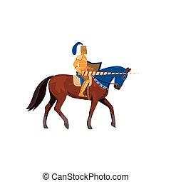pferd, mittelalterlich, gold, rüstung, ritter, langer, speer