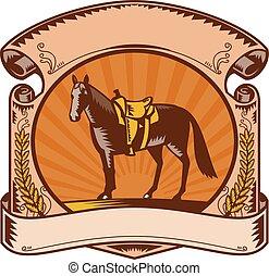 pferd, pferdesattel, rolle, holzschnitt, westlich