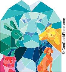 pferd, polygon, hund, katz, löwe, niedrig, kanninchen, ziege