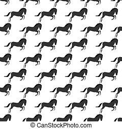 pferd, pony, reiter, farbe, muster, hengst, seamless, bauernhof, vektor, tier, charaktere, illustration.