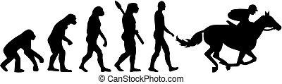 pferd rennen, evolutionsphasen