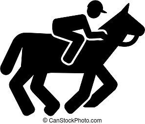 pferd rennen, piktogramm