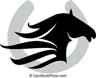 pferd, &, schuh, design