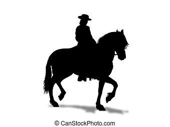 pferd, silhouette, reiter