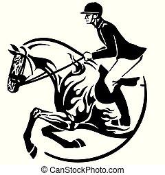 pferd springen, emblem, weisen