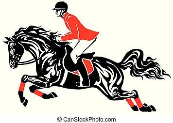 pferd springen, reiter