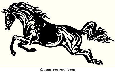 pferd springen, schwarz