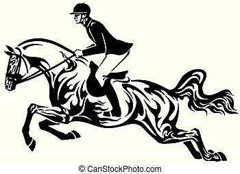 pferd springen, stammes-, weisen