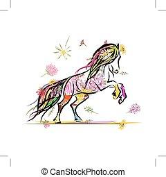 pferd, symbol, skizze, dekoration, jahr, blumen-, 2014, dein, design.