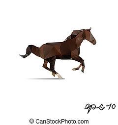 pferd, vektor, abstrakt, polygon