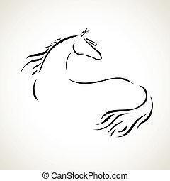 pferd, vektor, zeichnung