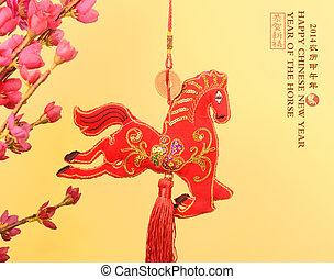 """pferd, wort, chinesisches , """"horse"""", hintergrund, knoten, jahr, 2014, weißes"""