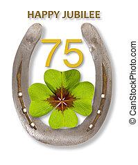 pferdehufeisen, talisman, 75th, jubiläum, jubiläum
