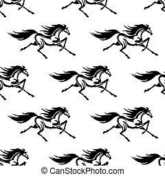 pferden, muster, weißes, schwarz, seamless