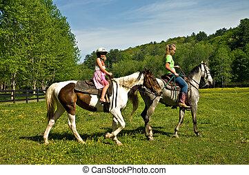 pferden, reiten, mädels