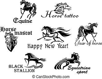 pferden, schwarz, maskottchen