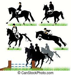 pferden, silhouetten, jockeis
